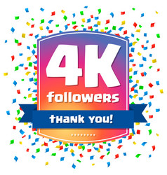 4000 followers thank you design card vector