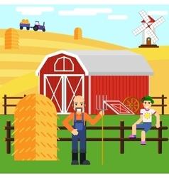 a boy and farmer at farm with barn vector image
