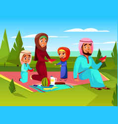 Arabian family outdoor picnic vector