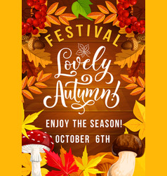 autumn festival poster with foliage and mushrooms vector image
