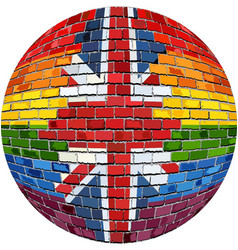 ball with great britain and gay flags vector image
