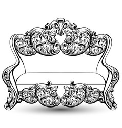 Baroque couch with luxurious ornaments vector