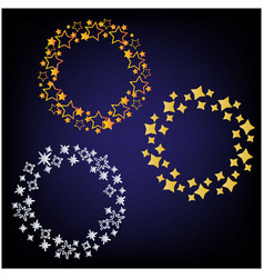 beautiful stars arranged circles frame vector image