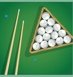 Billiard cue and pool balls in triangle on green vector
