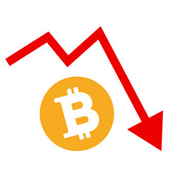 Bitcoin recession trend flat icon vector