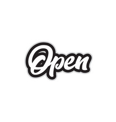 Black and white open hand written word text for vector