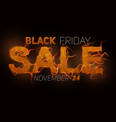 black friday sale text with orange fire vector image