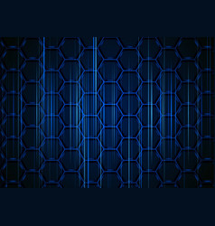 blue hexagonal structure with light stripes vector image
