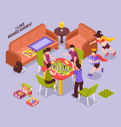 Board games kids isometric vector