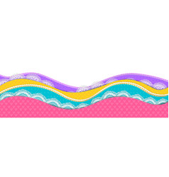 Bord bright of colored paper layers and lace vector