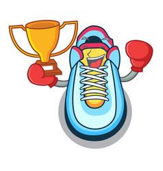 boxing winner sneaker mascot cartoon style vector image