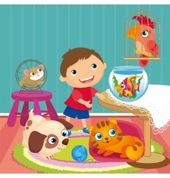 Boy With Pets In Room vector image