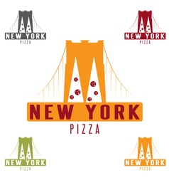 Brooklyn Bridge New York pizza concept design vector image