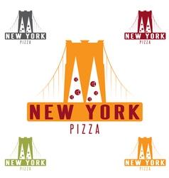 brooklyn bridge new york pizza concept design vector image