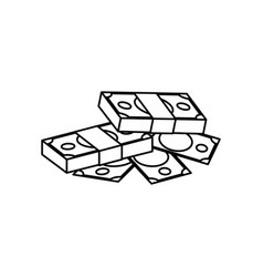 Bundles of money piled up vector