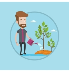 Businessman watering trees vector