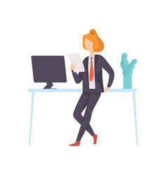 businesswoman wearing black suit working in office vector image