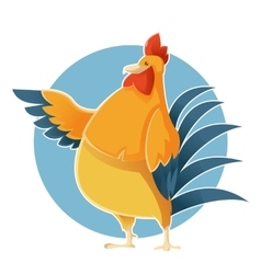 Cartoon greeting Chicken vector image