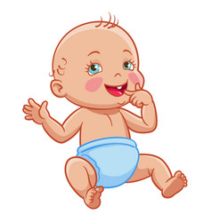 Cartoon infant baby sitting smiling diaper vector