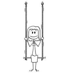 Cartoon woman or businesswoman sitting on swing vector