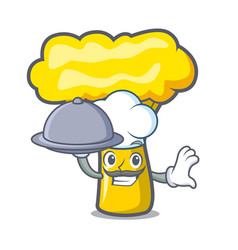 Chef with food chanterelle mushroom mascot cartoon vector
