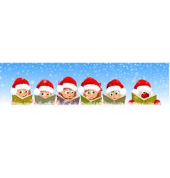 Children and santa read books for christmas vector