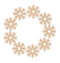 christmas golden wreath snowflakes decoration vector image