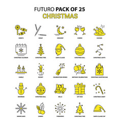 christmas icon set yellow futuro latest design vector image