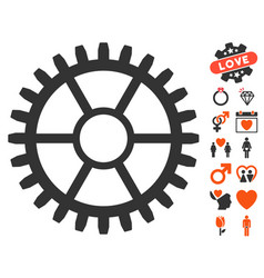 Clock wheel icon with dating bonus vector