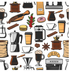 coffee machine cup and grinder seamless pattern vector image