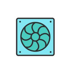 Computer fan flat color line icon vector