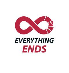 Crashed infinity loop symbol conceptual logo vector