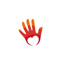Creative abstract human palm heart inside logo vector