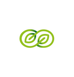 creative green infinity leaves logo vector image