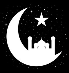Crescent moon with mosque silhouette vector