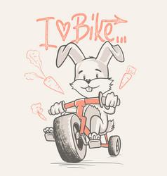 cute rabbit cartoon ride bicycle vector image