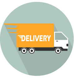 Delivery car single flat color icon illus vector