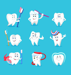 dental hygiene teeth or tooth cartoon characters vector image