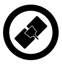 drywall repair icon black color in circle vector image