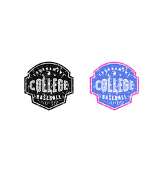 Emblem college baseball team for t-shirt vector