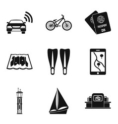 Excursion icons set simple style vector