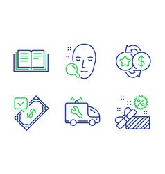 Face search loyalty points and car service icons vector