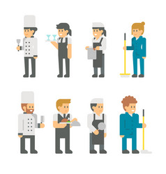 flat design restaurant staffs vector image