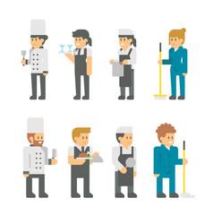 flat design restaurant staffs vector image