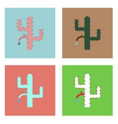Flat icon design collection cactus with crane vector
