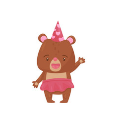 friendly girl bear in pink skirt and party hat vector image