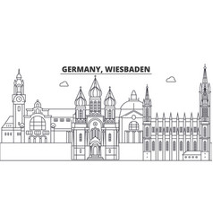 Germany wiesbaden line skyline vector