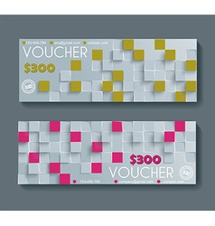 Gift voucher template with retro geometric pattern vector