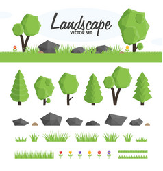 Green landscape set vector