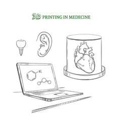 hand drawn medical technology innovations concept vector image